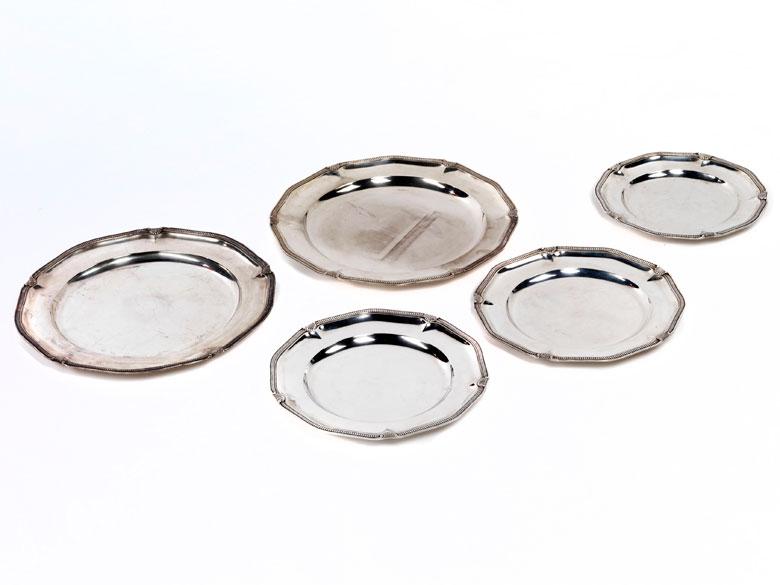 Konvolut von fünf Silberplatten