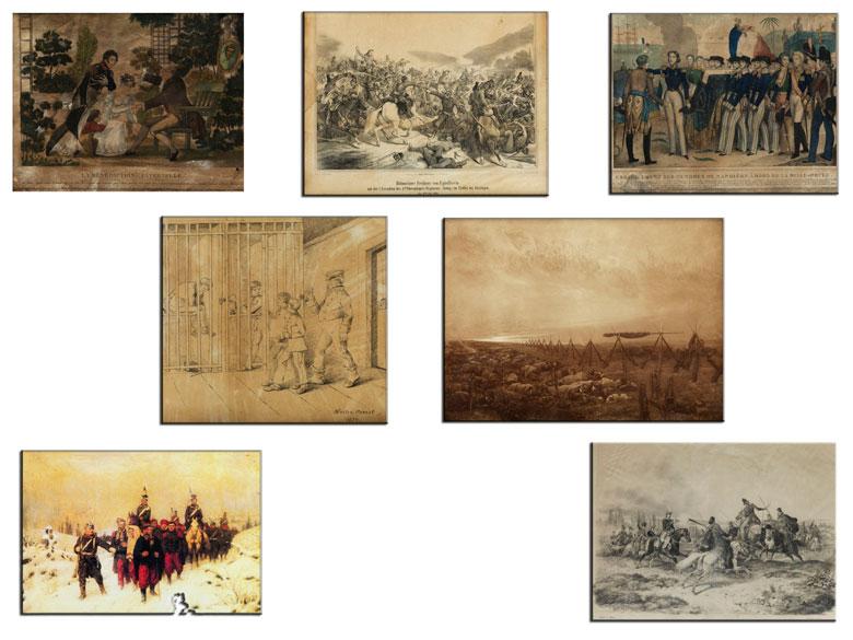 Insgesamt sieben gerahmte Lithografien