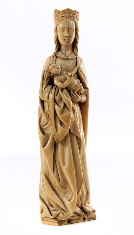 Elfenbein-Schnitzfigur einer Madonna mit Kind