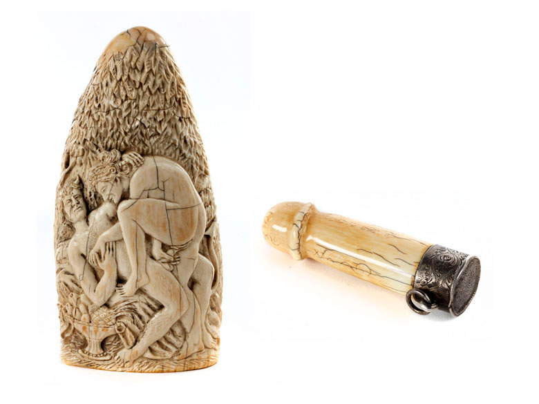 Zwei erotische Elfenbeinobjekte