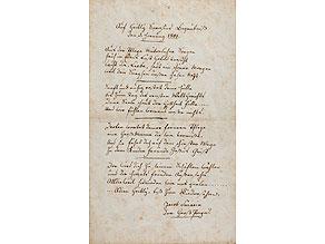 Handschriftliches Gedicht des Jakob Sarasin