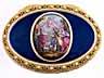 Detail images: Ovale Golddose mit Transluzid-Blauemail sowie aufgelegtem Gemälde in Emailmalerei