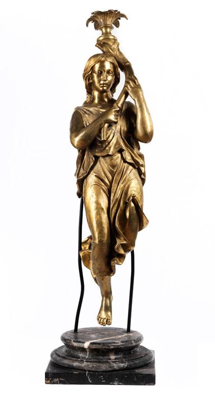 Bronzefigur auf Marmorsockel als Leuchterträger