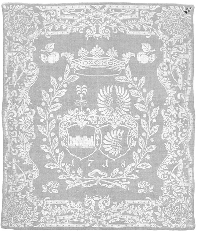 Handgewebtes Wappen-Mundtuch mit Datierung 1718
