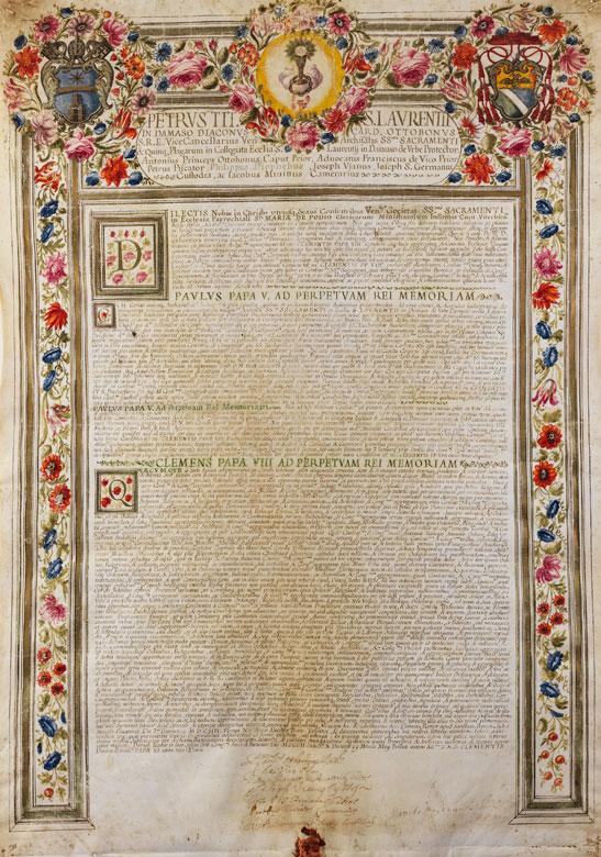 Seltene, päpstliche Ernennungsurkunde in Pergament der Zeit Papst Clemens VIII
