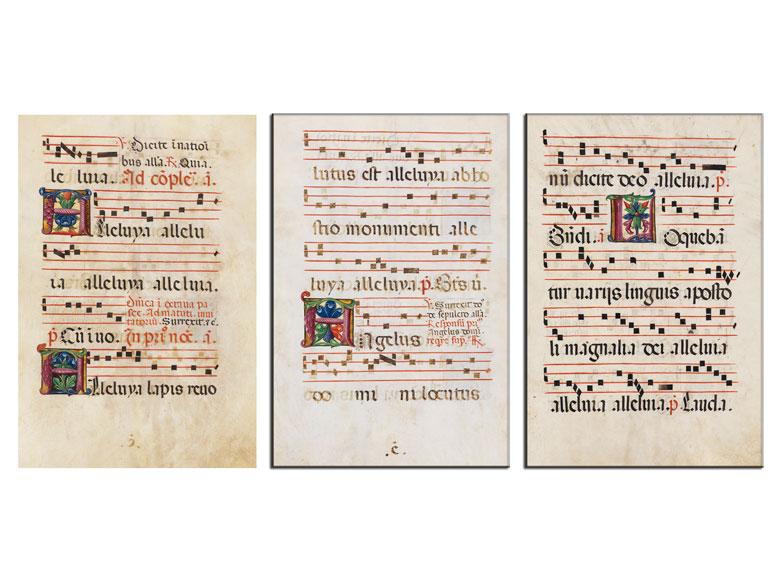 Drei Blätter eines Antiphonars