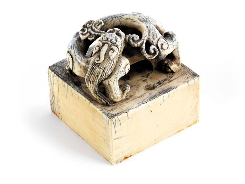 Chinesischer Siegelstempel in Elfenbein