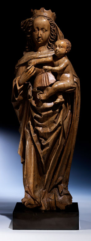 Schnitzfigur der Madonna mit Kind, dem Wirkungskreis von Veit Stoß, um 1447 - 1533, zug.
