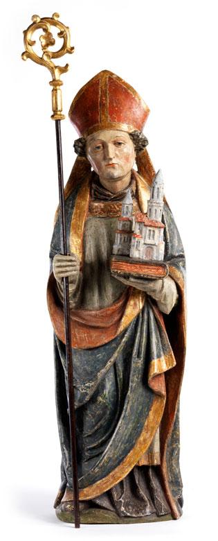 Schnitzfigur des Heiligen Wolfgang
