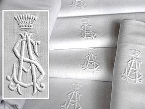Detailabbildung:  Sechs Tücher mit großem gräflichem Monogramm AS