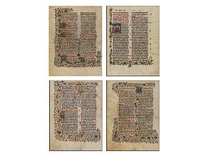 Serie von vier Pergamentseiten