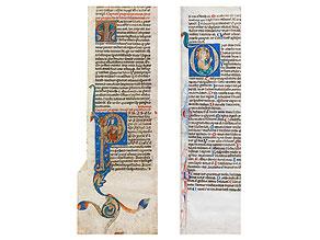 Zwei Pergament-Kolumnen mit Buchmalerei