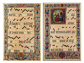 Paar Antiphonar-Blätter mit reicher Buchmalerei