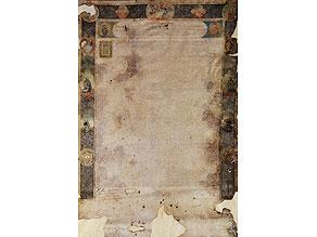 Großformatige, äußerst fein geschriebene und randdekorierte, klerikale Ernennungsurkunde in Pergament