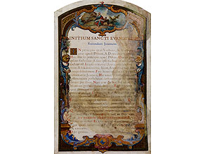Deckblatt des Johannes-Evangeliums mit reicher Buchmalerei