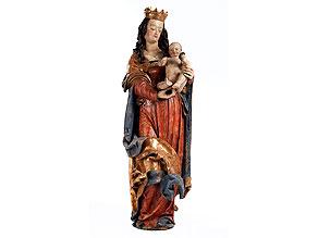 Lebensgroße Madonnenfigur der Donauschule aus der Werkstatt/ Umkreis von Hans Leinberger, um 1475/ 80 - 1531