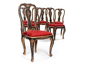 Satz von sechs Rokoko-Stühlen