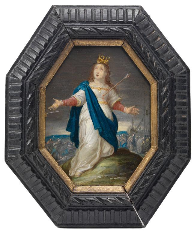 Miniaturhaft kleines Gemälde mit Darstellung der Märtyrerin Christina von Bolsena