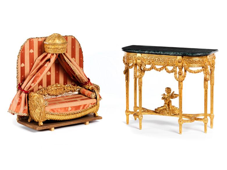 Zwei Miniaturmöbel im Louis XVI-Stil