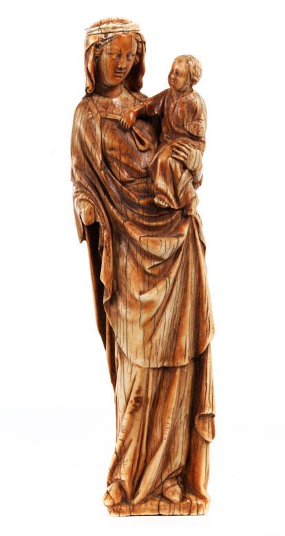 Elfenbeinfigur einer Madonna mit dem Kind