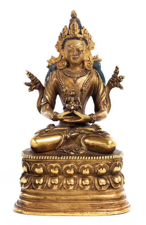 Amitaba in Bronze und Vergoldung