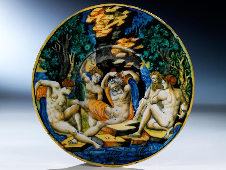 Kleiner, tiefer Istoriato-Teller der Manufaktur Urbino