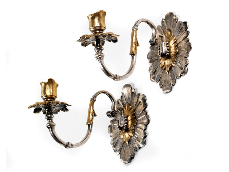 Paar fein gearbeitete Silber-Wandappliken