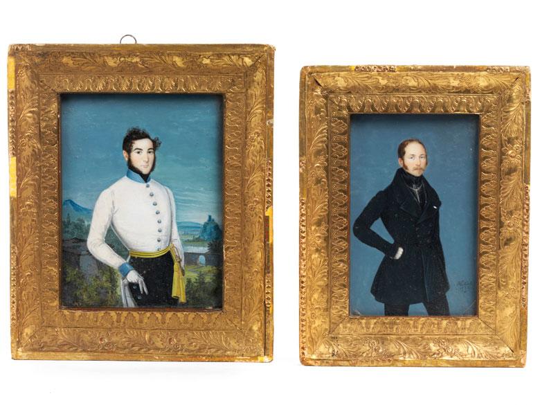 Zwei Miniaturportraits junger adeliger Herren