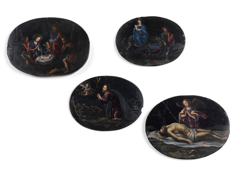 Vier Miniaturmalereien auf Lavagestein