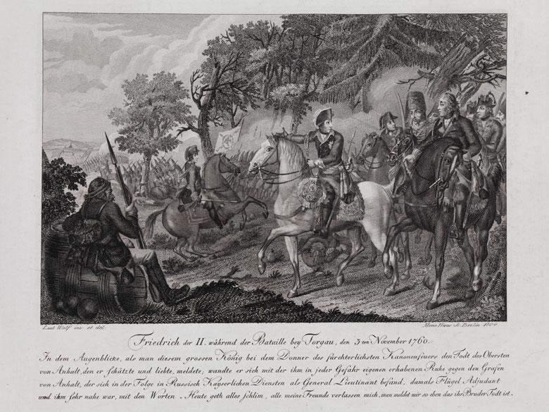 Friedrich der II während der Bataille bey Torgau, den 3ten November 1760