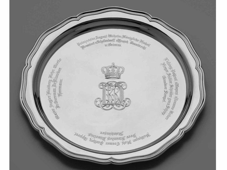 Silbertablett aus dem Kurmärkischen Dragoner-Regiment Nr. 14