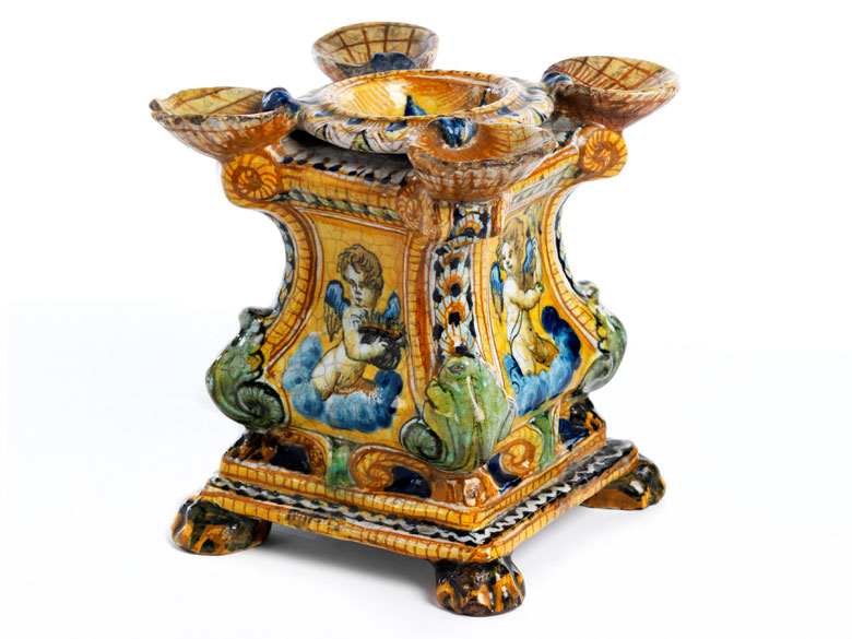 Majolika-Gewürzständer aus Urbino, Ende 16. Jahrhundert