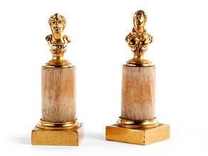 Paar gesockelte Miniaturbüsten