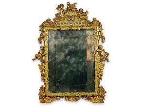 Seltener, venezianischer Spiegel eines Musikzimmers