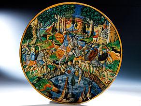Bedeutende Majolika-Platte aus Urbino, 16. Jahrhundert, um 1550 – 60