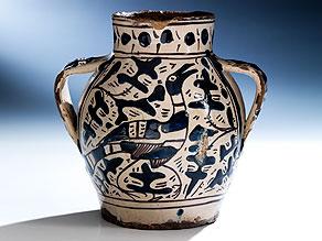 Majolika-Doppelhenkel-Vase aus der Werkstatt des Giunta di Tugio, Florenz, um 1480