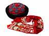 Detail images:  Kopfbedeckung eines japanischen Würdenträgers in roter und blauer Seide