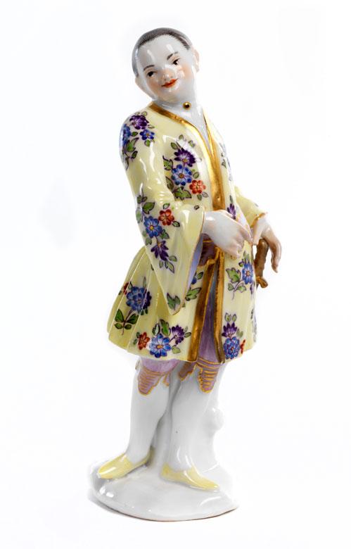 Meissener Porzellanfigurine eines höfisch gekleideten Chinesen