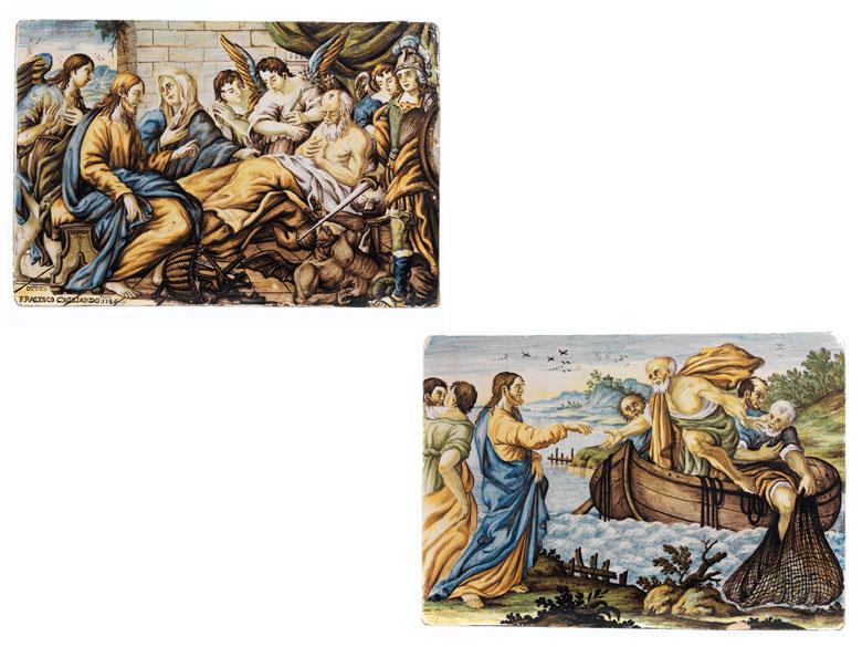 Paar Majolika-Bildplatten