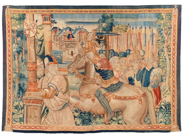 Franco-flämischer Wandbildteppich mit historischer Szenerie