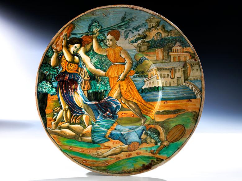 Istoriato-Platte mit Lüsterdekor aus der Werkstatt von Maestro Giorgio Andreoli