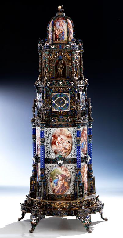 † Musealer, historischer Kunstkammer-Uhrenturm in Silber und Email