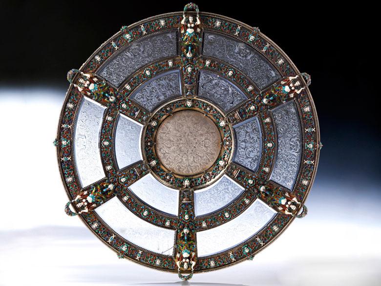 Bedeutende, museale, große Prunkschale in Silber, Email und geschliffenem Kristall