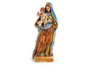 Majolika-Figur einer Madonna mit Kind