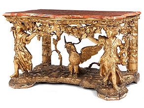 Prächtiger, großer Wandkonsoltisch mit reichen, figürlichen, vergoldeten Schnitzereien, Filippo Parodi, zug.