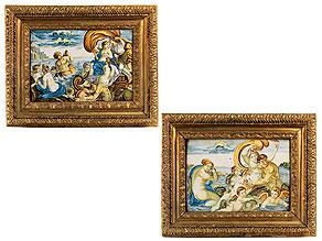 Paar Majolika-Bildplatten mit mythologischen Darstellungen