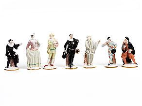 Satz von sieben Porzellanfigurinen der Commedia dell'arte