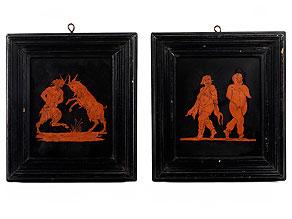 Paar Scagliola-Bildplatten