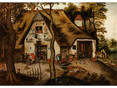 Pieter Brueghel the Younger, VILLAGE SCENE WITH ST MICHAEL INN