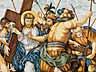 Detailabbildung:  Paar Majolika-Bildplatten mit Kreuzwegdarstellungen